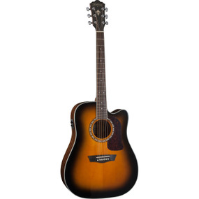 Washburn HD10SCETB Dreadnought Cutaway Solid Top Acoustic Electric Guitar, Tobacco Burst