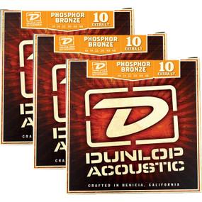 Dunlop DAP1048 Phosphor Bronze Extra Light  Acoustic Guitar Strings, 3 PACK