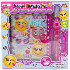 Hot Focus Emoji Secret Diary Journal w/ Passscode Lock & Invisible Ink Pen