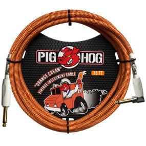 Pig Hog PCH10CCR Vintage Series 10ft Woven Instrument Cable, Orange Cream