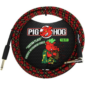 Pig Hog PCH10PLR Vintage Series 10ft Woven Instrument Cable, Tartan Plaid
