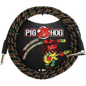 Pig Hog PCH10RAR Vintage Series 10ft Woven Instrument Cable, Rasta Stripes