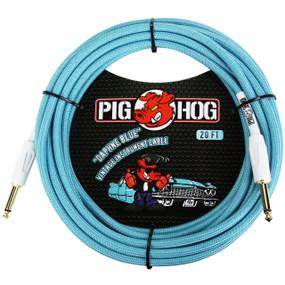 Pig Hog PCH10DB Vintage Series 10ft Woven Instrument Cable, Daphne Blue