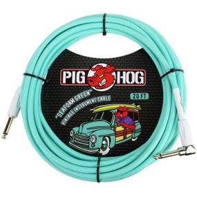 Pig Hog PCH20SGR Vintage Series 20ft Woven Instrument Cable, Seafoam Green