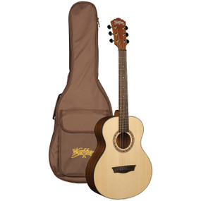 Washburn AGM5K Apprentice G-Mini 5 Grand Auditorium Acoustic Travel Guitar w/ Gig Bag, Natural