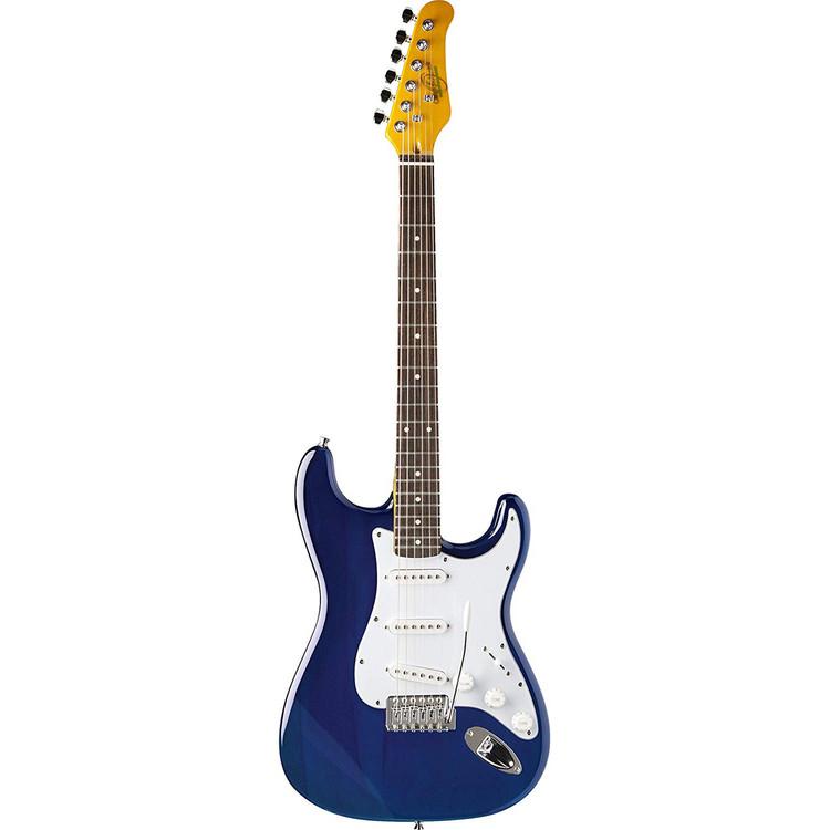 Oscar Schmidt OS-300-MBL Double Cutaway Solid-Body Electric Guitar, Blue