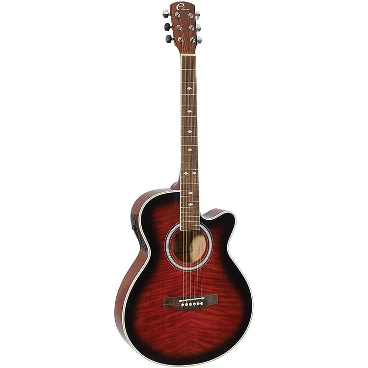 "Eleca DAG-8CEQ-RDS 39"" Parlor Acoustic Electric Guitar, Quilt Red Burst"