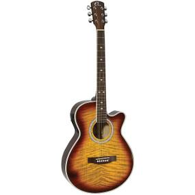 "Eleca DAG-8CEQ-TBS 39"" Parlor Acoustic Electric Guitar, Quilt Tobacco Burst"