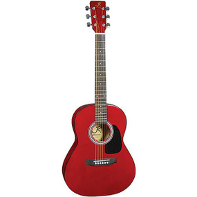 J Reynolds JR14TR 36-Inch Acoustic Guitar, 3/4 Size, Transparent Red