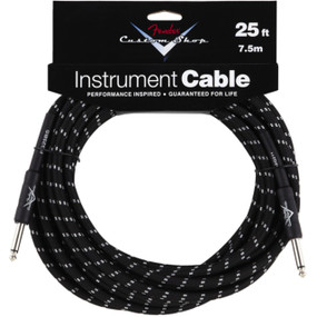 Fender FG25BS Custom Shop 25' Black Tweed Instrument Cable, 099-0820-039