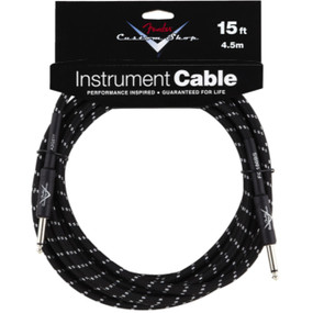 Fender FG15BS Custom Shop 15' Black Tweed Instrument Cable, 099-0820-051