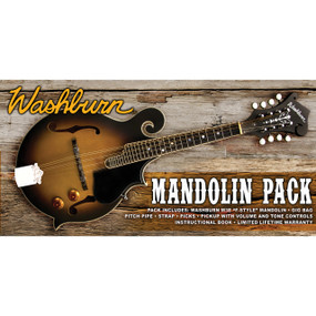 Washburn M3EK F-Style Mandolin Acoustic-Electric Pack with Gig Bag, Strap, Picks