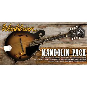 Washburn M3EK F-Style Mandolin Acoustic-Electric Pack with Gig Bag, Strap, Picks