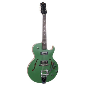 The Loar LH-306T Thinbody Archtop Cutaway Electric Guitar with Bigsby B70, Green