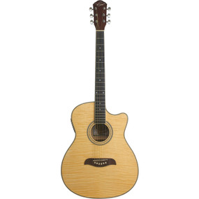 Oscar Schmidt OACEFN Auditorium Cutaway Flame Top Acoustic Electric Guitar, Natural