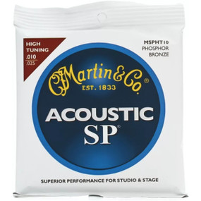 Martin MSPHT10 Phosphor Bronze Acoustic Guitar Strings, High Tuning .010-.025