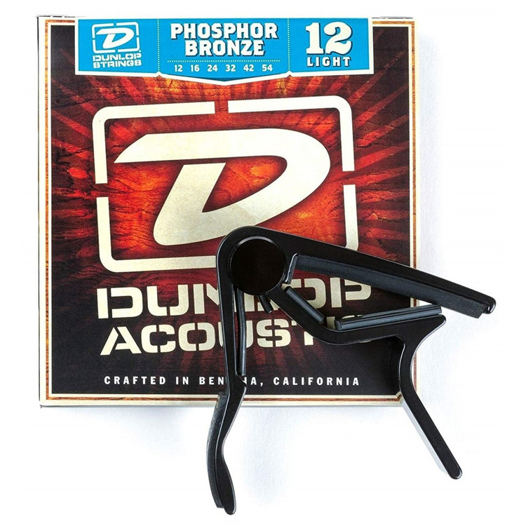 Dunlop 83CBA12 Trigger Curved Capo and Phosphor Bronze Acoustic Guitar Strings Combo Pack
