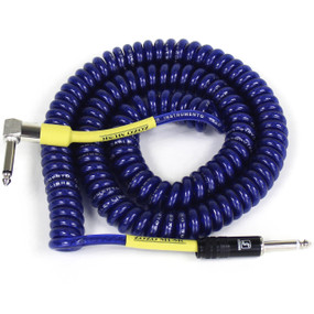 ZoZo Heavy Duty Vintage Coiled 30' Ft Right Angle/Straight Guitar Cable, Blue (ZZC30-BL)