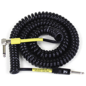 ZoZo Heavy Duty Vintage Coiled 30' Ft Right Angle/Straight Guitar Cable, Black (ZZC30-BK)