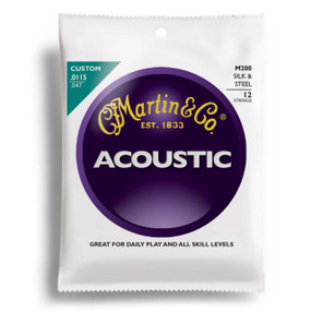 Martin M200 Silk & Steel 12-String Acoustic Folk Guitar Strings, Custom