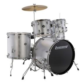 Ludwig LC17015 Accent Fuse 5-Piece Complete Drum Set, Silver Foil