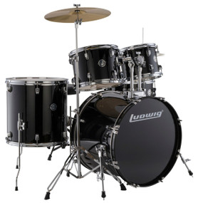 Ludwig LC17011 Accent Fuse 5-Piece Complete Drum Set, Black