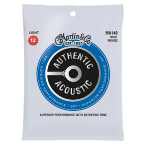 Martin MA140 Authentic Acoustic SP 80/20 Bronze Guitar Strings- Light .012-.054