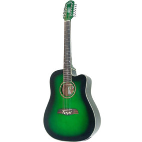 Oscar Schmidt OD312CE 12-String Acoustic Electric Guitar, Trans Green
