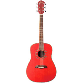 Oscar Schmidt OGHSTR 1/2 Size Steel String Acoustic Guitar, Trans Red