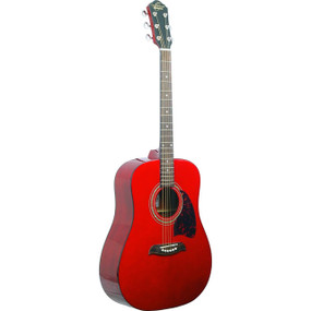 Oscar Schmidt OG2TR Dreadnought Acoustic Guitar, Trans Red