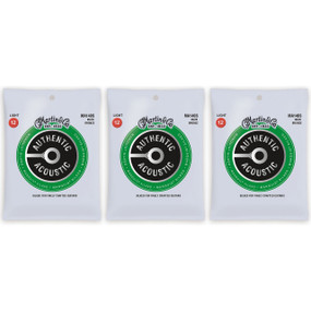 Martin MA140S Acoustic Marquis Silked Guitar Strings, Light - 3 PACK