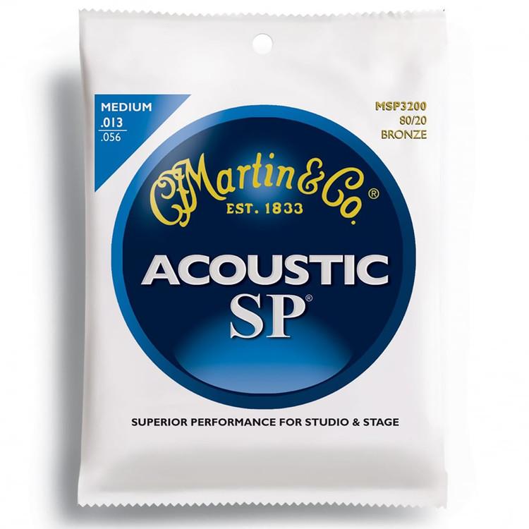 Martin MSP3200 SP Coated 80/20 Bronze Acoustic Guitar Strings, Medium Gauge