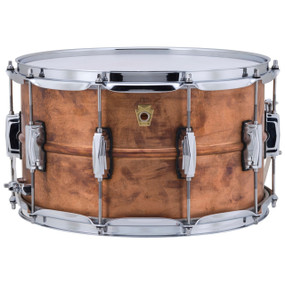 "Ludwig LC608R Copper Phonic 8""x 14"" Smooth Shell Snare Drum with Imperial Lugs, Raw Copper"