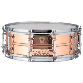 "Ludwig LC660KT Copper Phonic 5""x 14"" Hammered Shell Snare Drum with Tube Lugs"