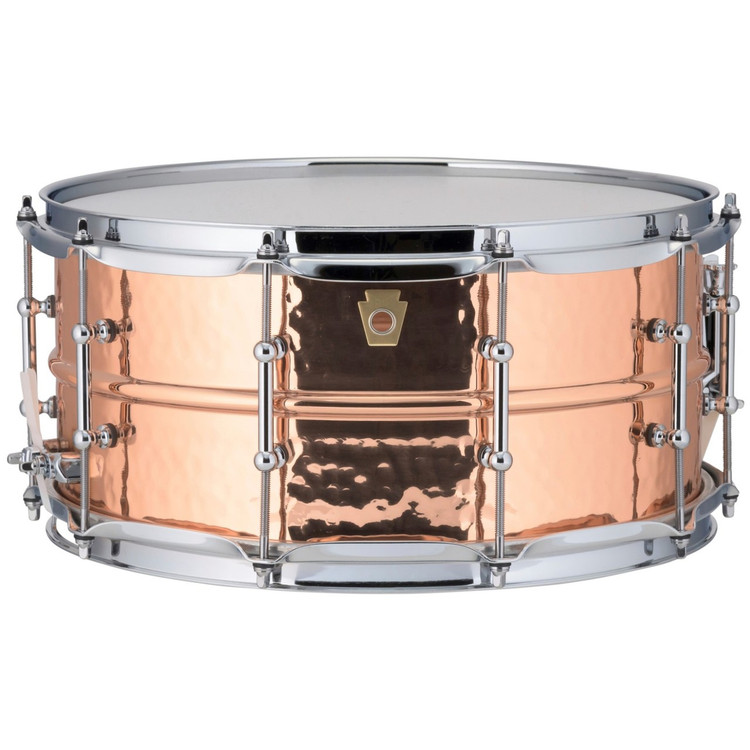 "Ludwig LC662KT Copper Phonic 6.5""x 14"" Hammered Shell Snare Drum with Tube Lugs"