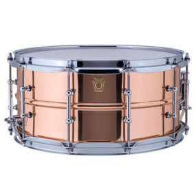 "Ludwig LC662T Copper Phonic 6.5""x 14"" Smooth Shell Snare Drum with Tube Lugs"