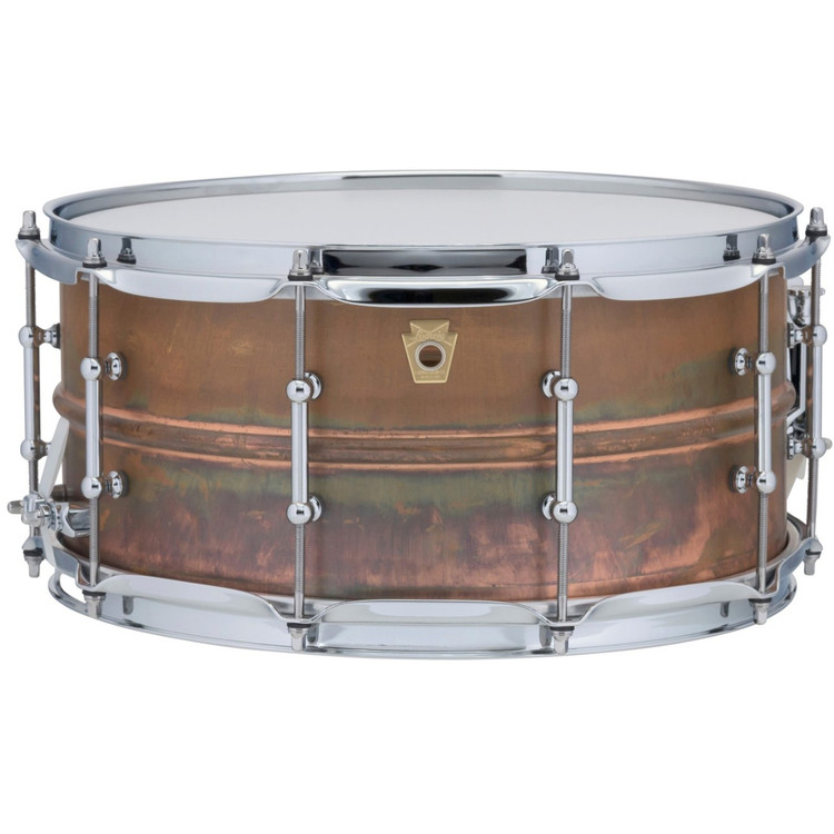 "Ludwig LC663T Copper Phonic 6.5""x 14"" Smooth Shell Snare Drum with Tube Lugs, Raw Patina"
