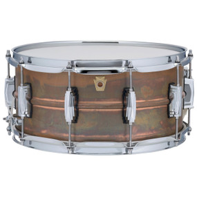 "Ludwig LC663 Copper Phonic 6.5""x 14"" Smooth Shell Snare Drum with Imperial Lugs, Raw Patina"
