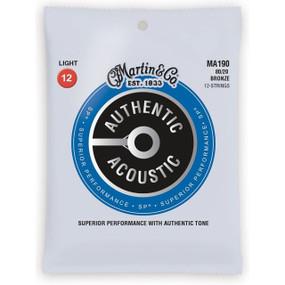 Martin MA190 Acoustic SP 80/20 Bronze 12-String Guitar Strings, Light