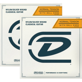 Dunlop DCV100NB Ball-End Classical Guitar Strings, Nylon/Silver Wound - 2 PACK