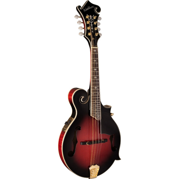 Washburn M3SWETWRK Americana F-Style Acoustic Electric Mandolin, Trans Wine Red
