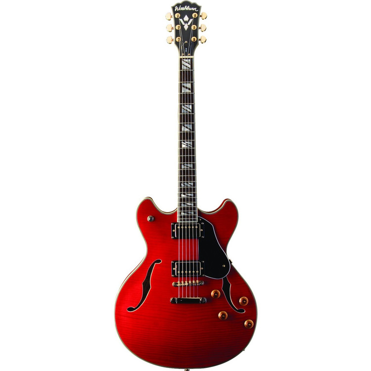 Washburn HB35WRK Hollowbody Electric Guitar with Hardshell Case, Wine Red