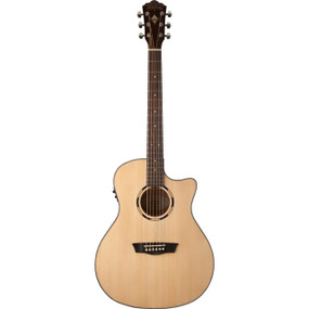 Washburn WLO10SCE Woodline Orchestra Body Acoustic Electric Guitar, Natural