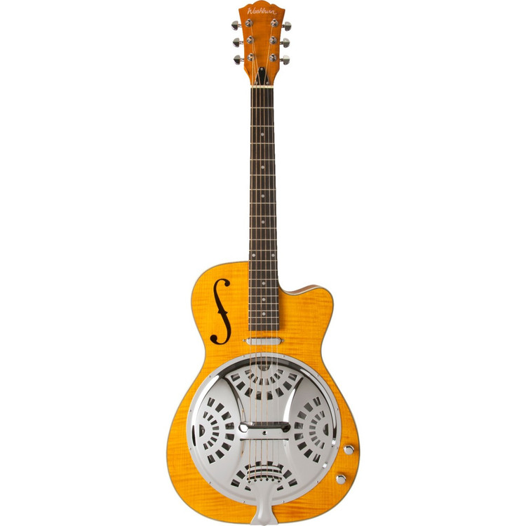 Washburn R45RCE Americana Series Acoustic Electric Resonator Guitar, Trans-Honey