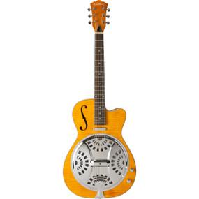 Washburn R45RCE Americana Series Acoustic Electric Resonator Guitar, Trans-Honey
