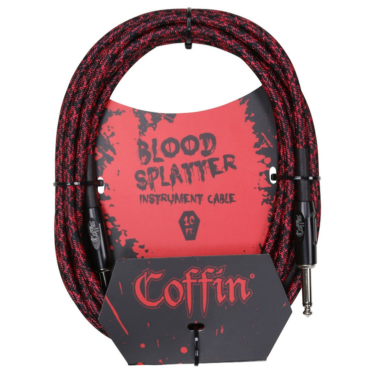 """Coffin CF-ICBS10 Bloodsplatter 10ft. Woven Instrument Cable, 1/4"""" Straight"""