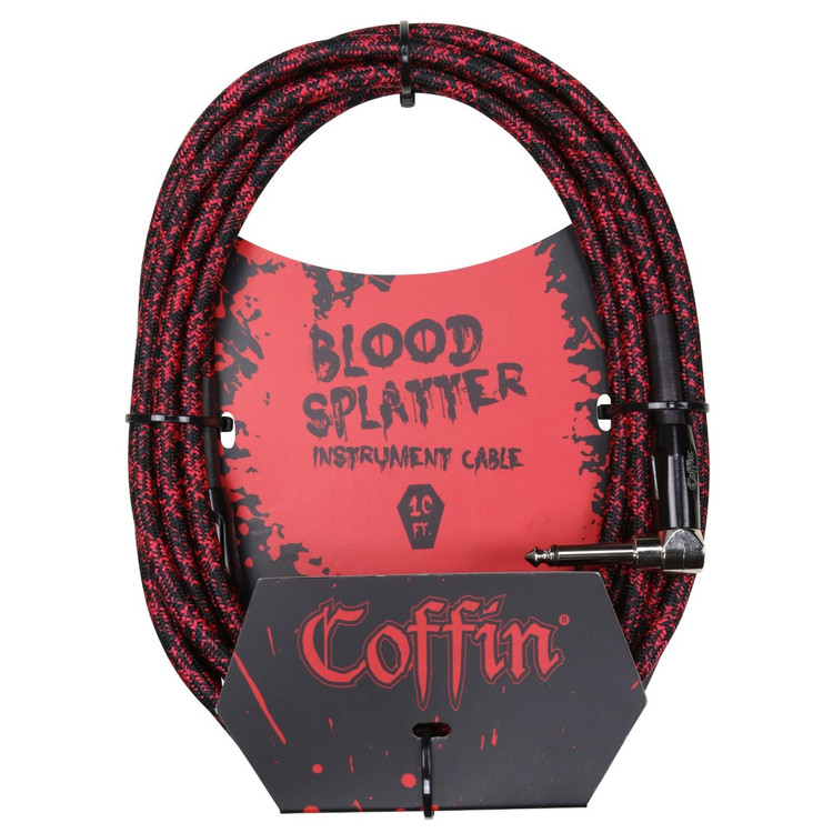 """Coffin CF-ICBS10R Bloodsplatter 10ft. Woven Instrument Cable, 1/4"""" Right Angle"""
