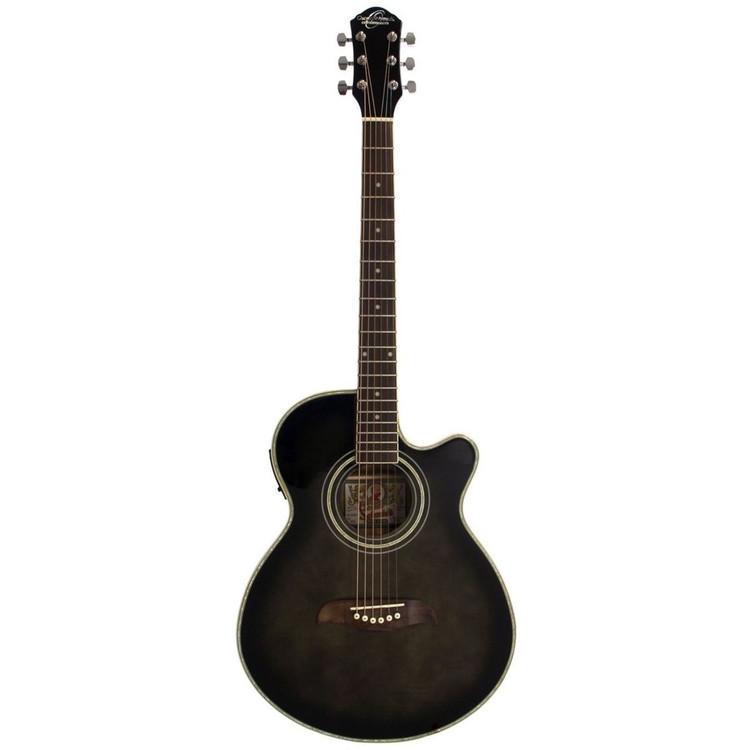 Oscar Schmidt OG10CEFTB Concert Cutaway Acoustic Electric Guitar, Flame Trans Black