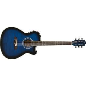 Oscar Schmidt OG10CEFTBL Concert Cutaway Acoustic Electric Guitar, Flame Trans Blue