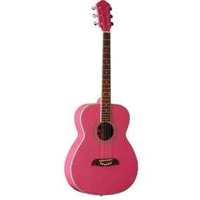 Oscar Schmidt OF2P Folk Style Acoustic Guitar, Pink